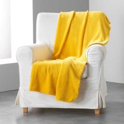 Jete de canape 180 x 220 cm coral uni louna Moutarde