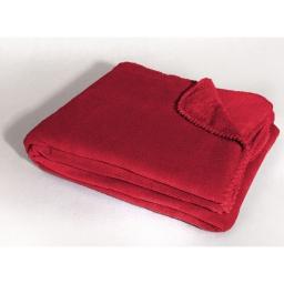 Jete de canape 180 x 220 cm coral uni louna Rouge