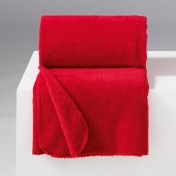 Jete de canape 180 x 220 cm flanelle jacquard calinou Rouge