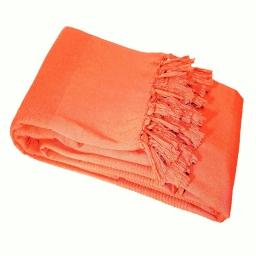 Jete de canape a franges 220 x 240 cm coton tisse lana Corail