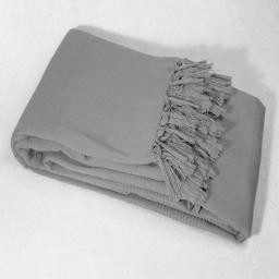 Jete de canape a franges 220 x 240 cm coton tisse lana Gris