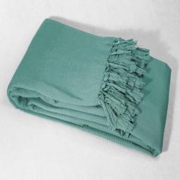 Jete de canape a franges 220 x 240 cm coton tisse lana Menthe