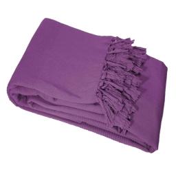 Jete de canape a franges 220 x 240 cm coton tisse lana Prune