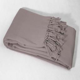 Jete de canape a franges 220 x 240 cm coton tisse lana Taupe