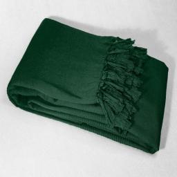 Jete de canape a franges 220 x 240 cm coton tisse lana Vert