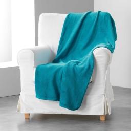 Jete de fauteuil 125 x 150 cm coral uni louna Bleu lagon