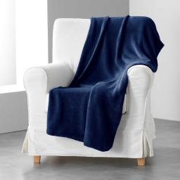 Jete de fauteuil 125 x 150 cm coral uni louna Bleu nuit