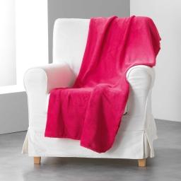 Jete de fauteuil 125 x 150 cm coral uni louna Framboise