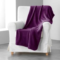 Jete de fauteuil 125 x 150 cm coral uni louna Prune
