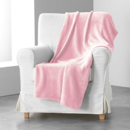 Jete de fauteuil 125 x 150 cm coral uni louna Rose pale