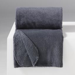 Jete de fauteuil 125 x 150 cm flanelle jacquard calinou Anthracite