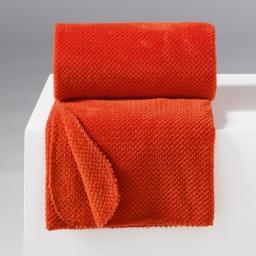 Jete de fauteuil 125 x 150 cm flanelle jacquard calinou Brique