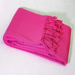 Jete de fauteuil a franges 150 x 150 cm coton tisse lana Fuchsia