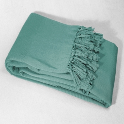 Jete de fauteuil a franges 150 x 150 cm coton tisse lana Menthe