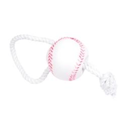 jouet pour chien balle de baseball en vinyl h.26*ø7.3cm avec corde