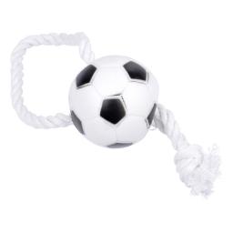 jouet pour chien balle de foot en vinyl h.26*ø7.3cm avec corde