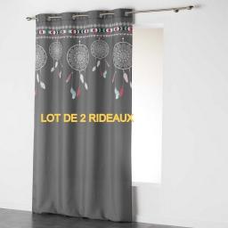 Rideau A Oeillets 140 X 240 Cm Coton Imprime Home Love Dessin Place