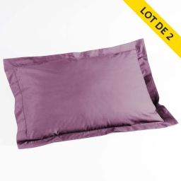 Lot 2 taies d'oreiller volant plat 50x70 100% coton 57 fils finition point bourdon Violine