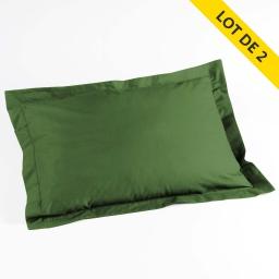 Lot 2 taies d'oreiller volant plat 50x70 uni 57 fils lina  +pt bourdon Vert sapin