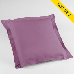 Lot 2 taies d'oreiller volant plat 63x63 100% coton 57 fils point bourdon Violine