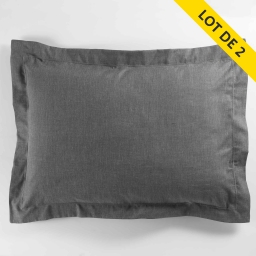 Lot 2 taies oreiller volant plat 50x70 polycoton uni actually +pt bourdon Anthracite