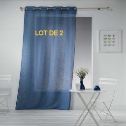 Lot de 2 panneaux a oeillets 140 x 240 cm effet lin tisse haltona Bleu