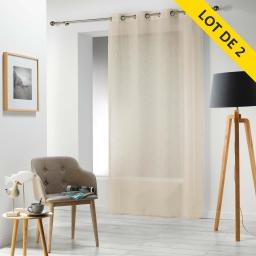 Lot de 2 panneaux a oeillets 140 x 240 cm voile tisse carlin Lin