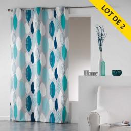 Lot de 2 rideaux a oeillets 140 x 240 cm coton imprime leafy Bleu