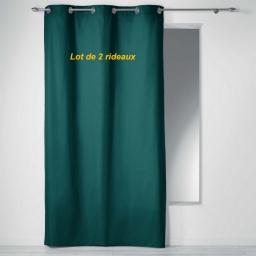 Lot de 2 rideaux a oeillets 140 x 240 cm coton uni panama Emeraude