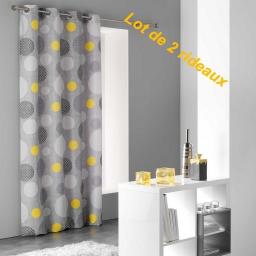Lot de 2 rideaux a oeillets 140 x 240 cm microfibre imprimee atolls Jaune
