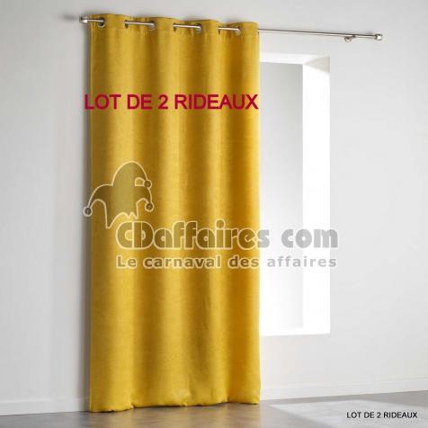 Lot de 2 rideaux a oeillets 140 x 240 cm occultant velours frappe triago Jaune