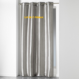 Lot de 2 rideaux a oeillets 140 x 240 cm shantung uni shana Perle
