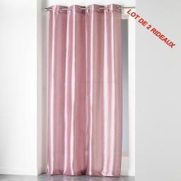 Lot de 2 rideaux a oeillets 140 x 240 cm shantung uni shana Rose