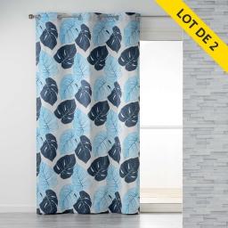 Lot de 2 rideaux a oeillets 140 x 240 coton imprime azur leaf Beige