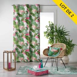 Lot de 2 rideaux a oeillets 140 x 240 coton imprime zootica Blanc