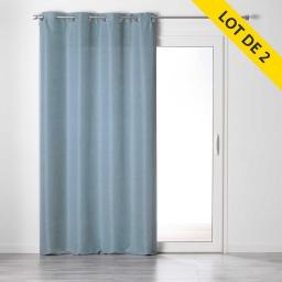 Lot de 2 rideaux a oeillets 140 x 240 tamisant chambray glory Bleu