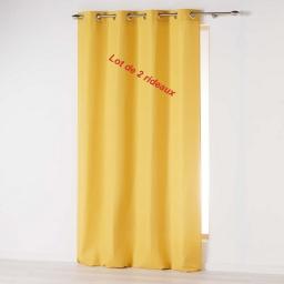 Lot de 2 rideaux a oeillets 140 x 260 cm microfibre unie absolu Moutarde