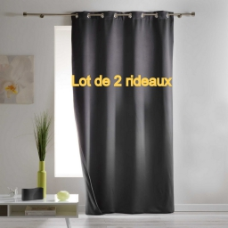 Lot de 2 rideaux a oeillets 140 x 260 cm occultant isolant covery Anthracite
