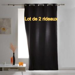 Lot de 2 rideaux a oeillets 140 x 260 cm occultant isolant covery Noir