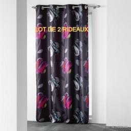 lot de 2 rideaux a oeillets 140 x 260 cm polyester imprime d/f floria