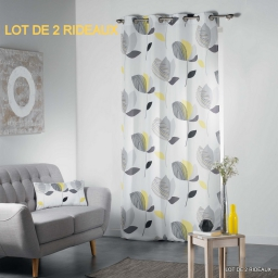 Lot de 2 rideaux a oeillets 140 x 260 cm polyester imprime mylae Jaune