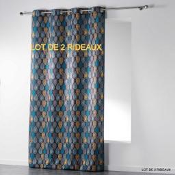 Lot de 2 rideaux a oeillets 140 x 260 cm polyester imprime palpito Anthracite