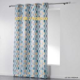 Lot de 2 rideaux a oeillets 140 x 260 cm polyester imprime palpito Blanc