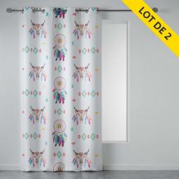 lot de 2 rideaux a oeillets 140 x 260 cm polyester imprime phoenix