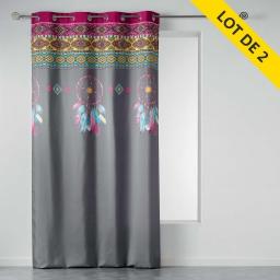 lot de 2 rideaux a oeillets 140 x 260 cm polyester imprime topdream