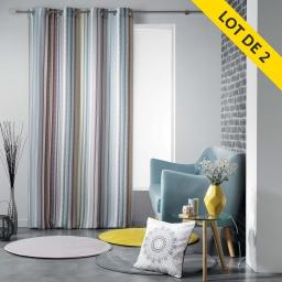 lot de 2 rideaux a oeillets 140 x 260 polyester imprime caly