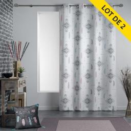 Lot de 2 rideaux a oeillets 140 x 260 polyester imprime ete indien Blanc