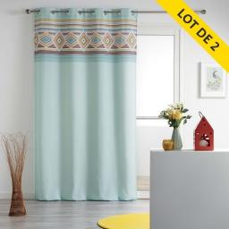 Lot de 2 rideaux a oeillets 140 x 260 polyester imprime luisa Menthe