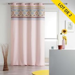 Lot de 2 rideaux a oeillets 140 x 260 polyester imprime luisa Rose
