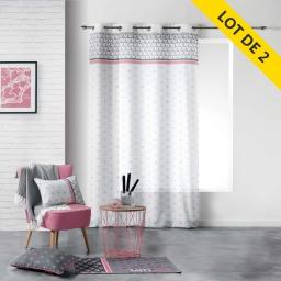 Lot de 2 rideaux a oeillets 140 x 260 polyester imprime mirade Rose
